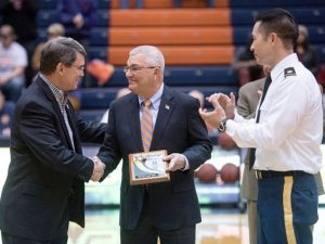 LTG (Ret) Dennis Cavin receives a plaque from the President of the University of Tennessee Martin, Dr. Bob Smith, after being inducted into the US Army ROTC Hall of Fame. Feb 2016